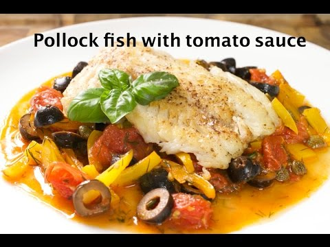 Pollock Fish With Tomato Sauce. White Fish With Delicious Sauce.