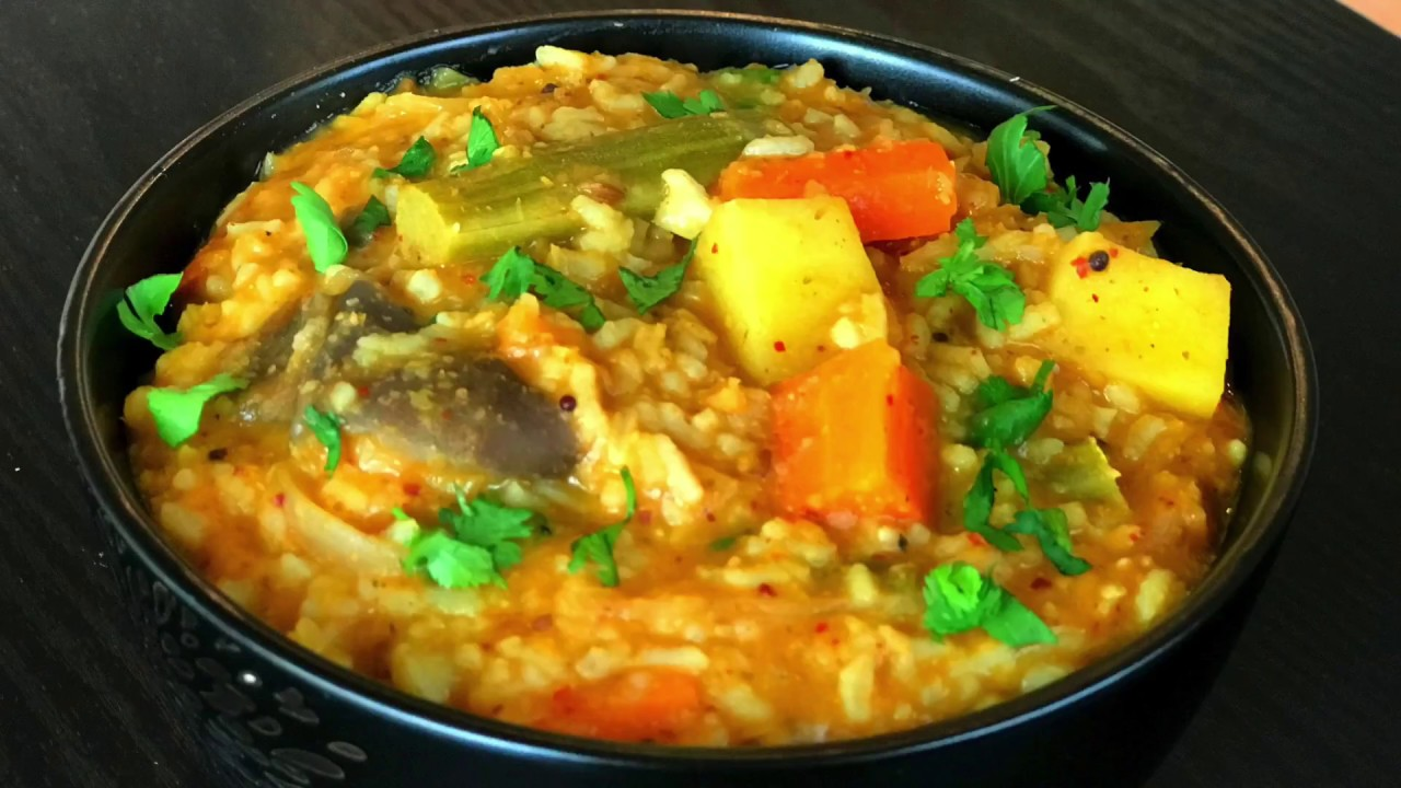 sambar rice recipe | sambar sadam recipe | mixed vegetable sambar ...