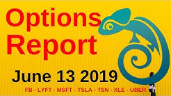 Options Report - June 13, 2019 | Market Chameleon FB - LYFT - MSFT - TSLA - TSN - XLE - UBER