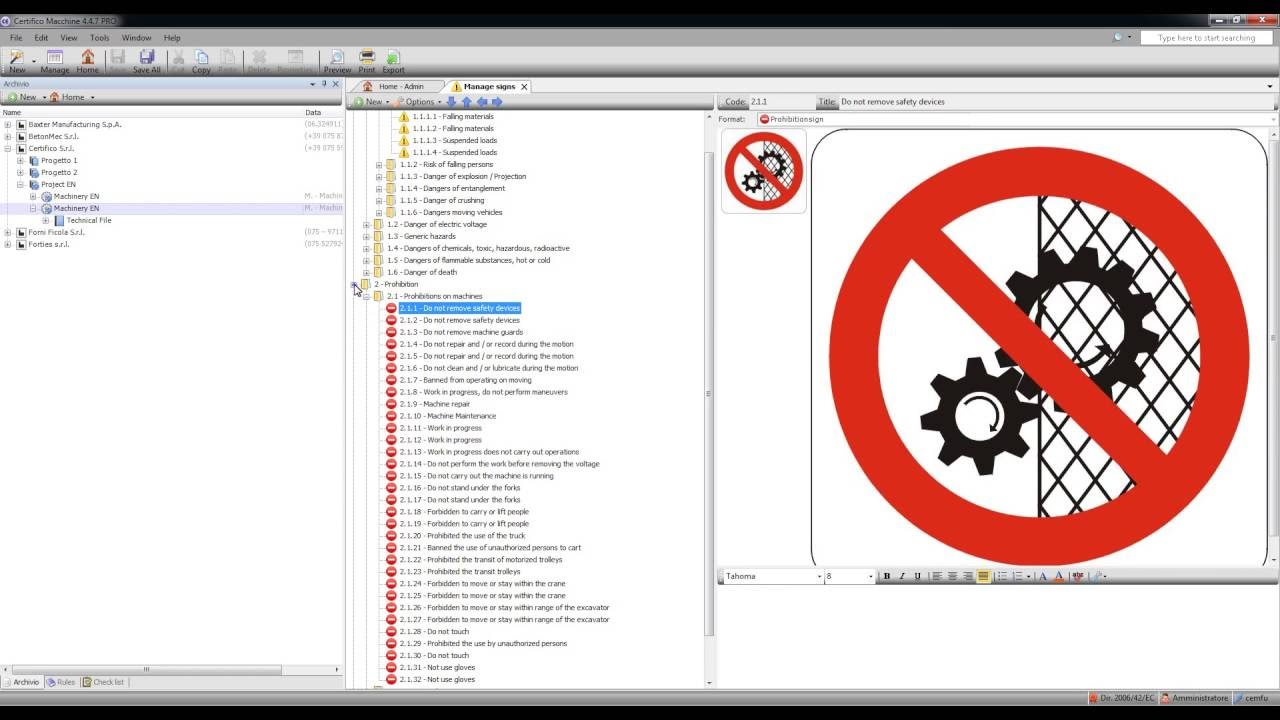 CEM4: Certifico Machinery Directive EN Version