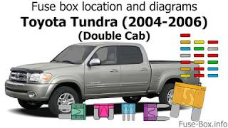 Fuse Box Location And Diagrams Toyota Tundra 2004 2006 Double Cab Youtube