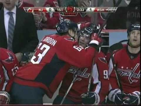 Andrew Gordon gets a little happy after his first NHL goal