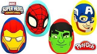 4 Huevos Sorpresa de Aventuras de Súper Héroes de Marvel en Español Plastilina Play Doh