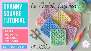 How to Crochet a Granny Square for Beginners | Single Colour Granny Square (Left Handed) Wendy Poole