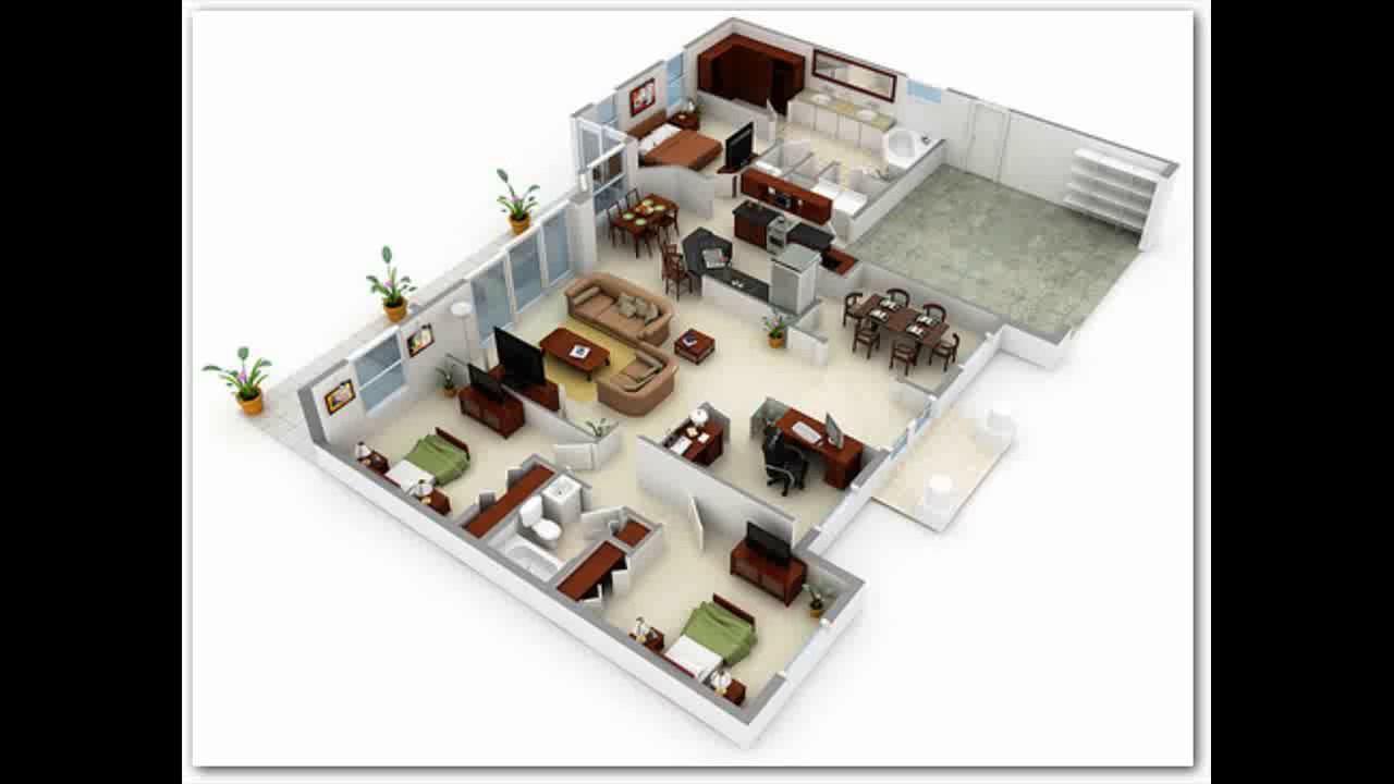 denah rumah minimalis 1 lantai 3 kamar tidur dan garasi 3d & denah rumah minimalis 1 lantai 3 kamar tidur dan garasi 3d - YouTube