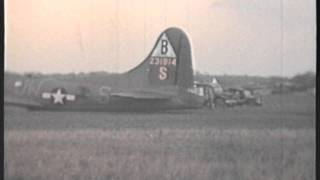 B17 BELLY LANDING AT STATION 109 PODINGTON HOME OF THE 92ND BOMB GROUP.