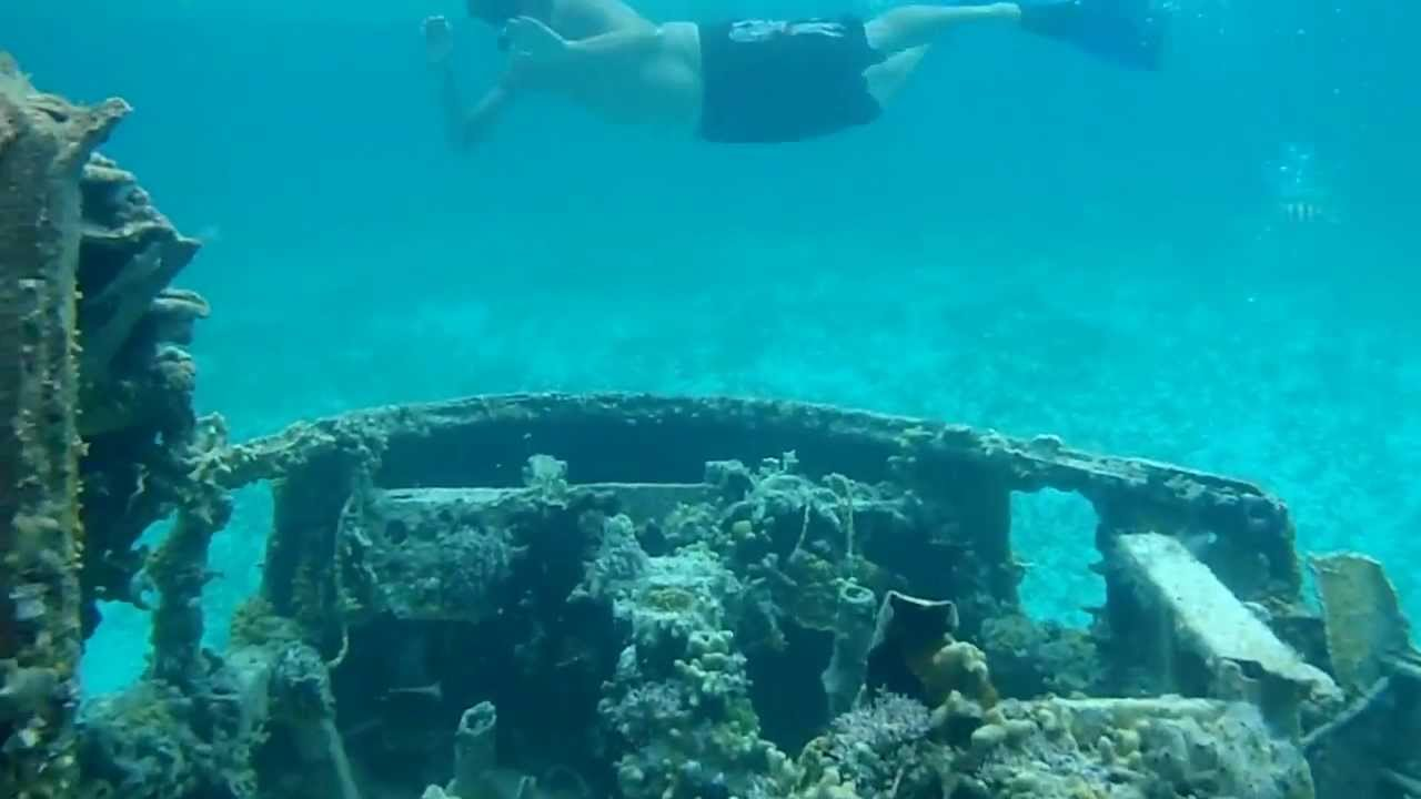 Snorkeling on drug plane at Normans cay in the Bahamas