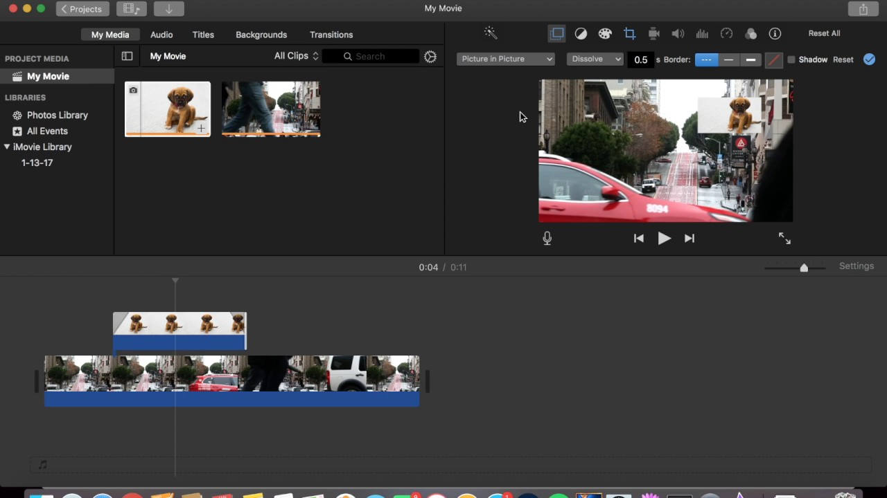 How to add a picture to a video clip - iMovie 2017