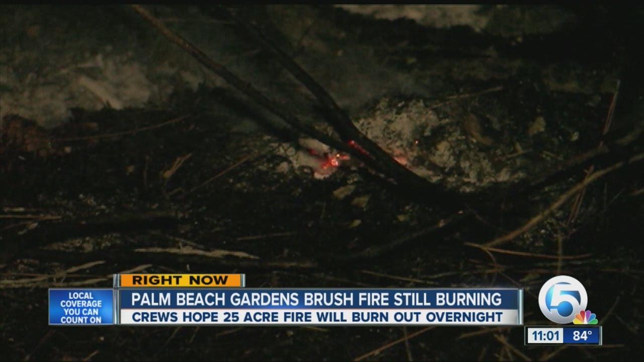 Palm Beach Gardens Brush Fire Still Burning Youtube
