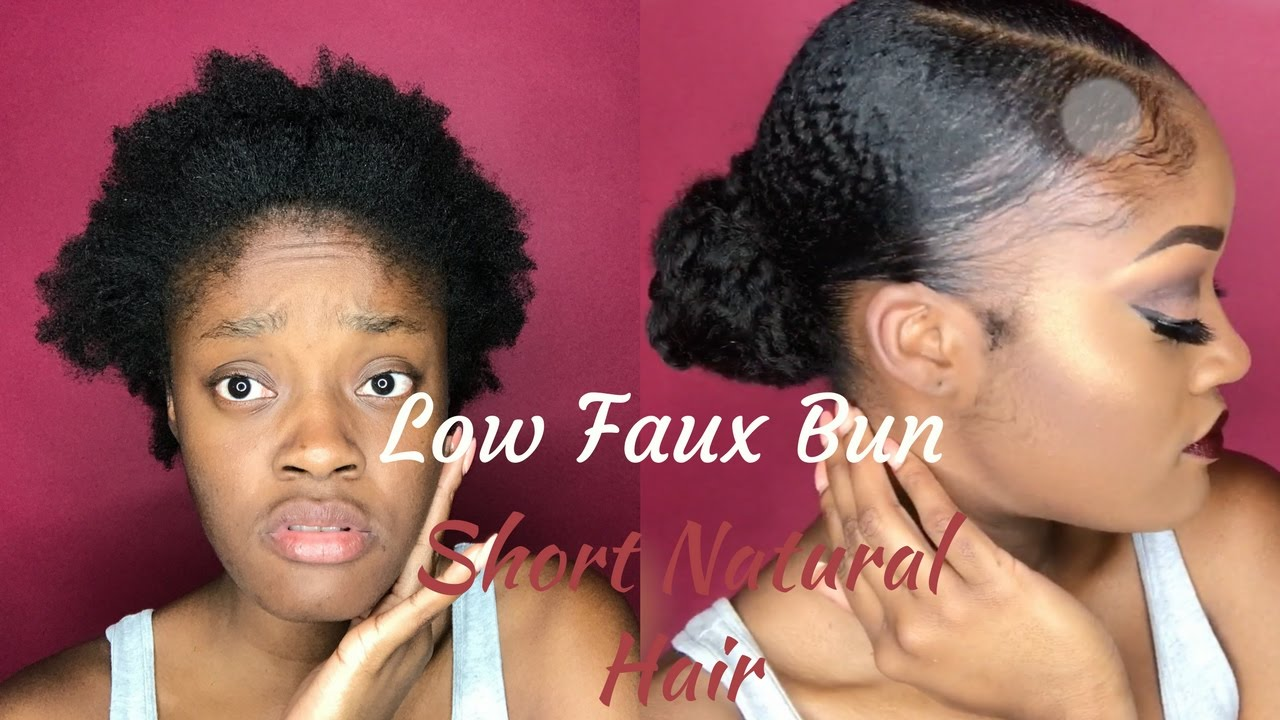 natural hair faux bun short 4c
