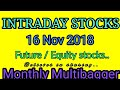 Day trading stocks 16-11-2018 Best stocks with huge potential for intraday