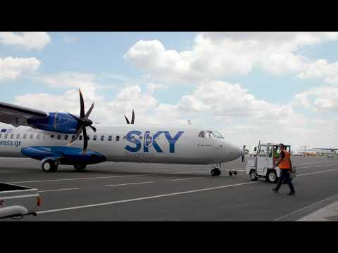 SKY express' first ATR 72-600 - painting film and take-off