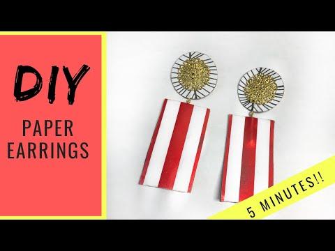 HOW TO MAKE EARRINGS | PAPER EARRINGS | HANDMADE JEWELRY |  DIY | 5 MINUTE CRAFT | MISS TREECE