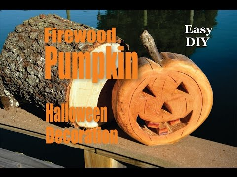 Easy DIY Firewood Halloween Pumpkin decorations