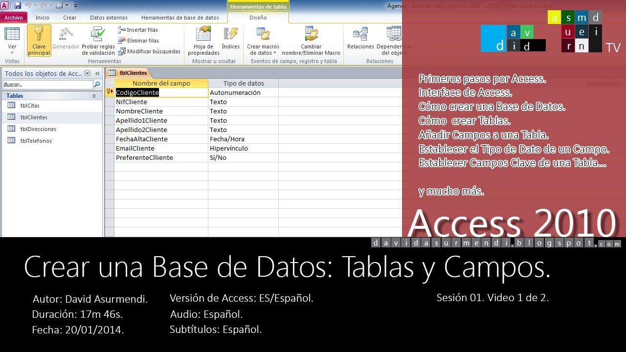 curso access 2010 crear una base de datos tablas y. Black Bedroom Furniture Sets. Home Design Ideas