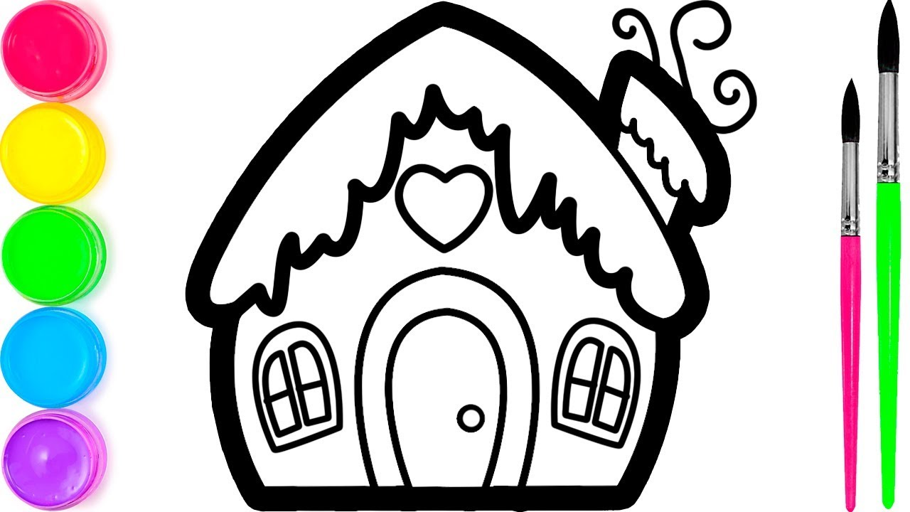 Belajar Menggambar Dan Mewarnai Rumah Roti Jahe Untuk Anak Anak