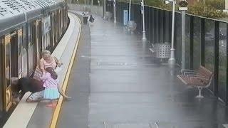 Dramatic escape after boy falls between train and platform