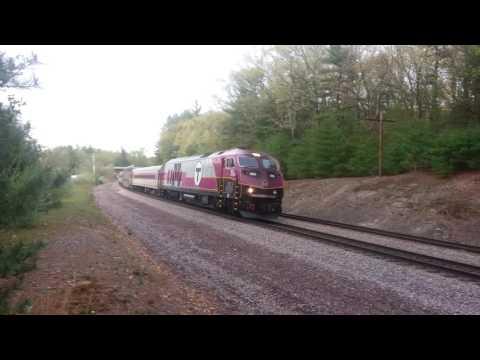 MBTA commuter rail, Lunenburg, MA, with HSP-46 #2022 leading