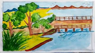 How to draw 3d scenery image for kids