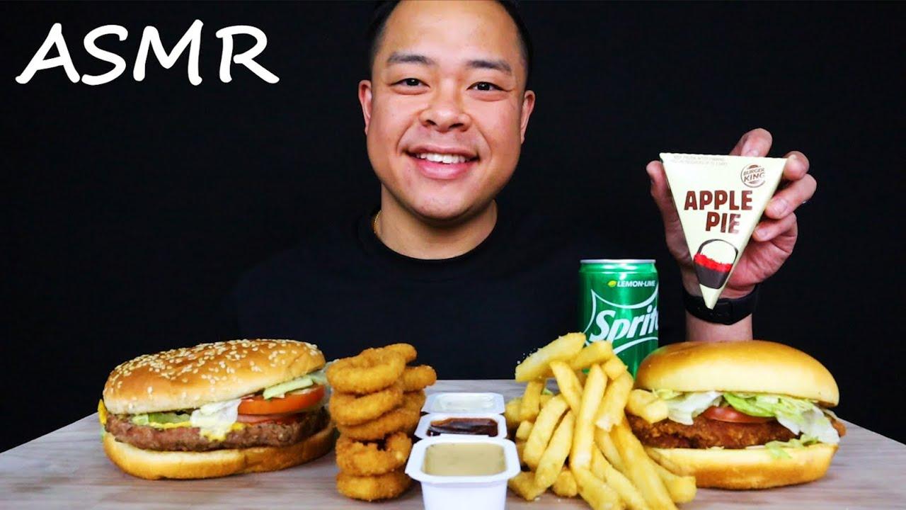 Download BK WHOPPER & CRIPSY CHICKEN SANDWICH + ONION RINGS & FRIES ASMR **BIG BITE EATING** ASMR_cravings