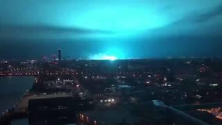 Transformer explosion lights up sky in blue over New York City