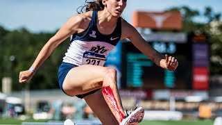 Track & FIeld - Bręnna Porter finishes hurdles after cutting open leg