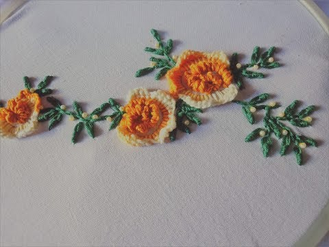 Hand embroidery. Rolled cast on stitch embroidery design. Brazilian embroidery.