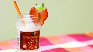 苺ジャムの空き瓶で作るイチゴ牛乳/Strawberry jam milk using jam jar