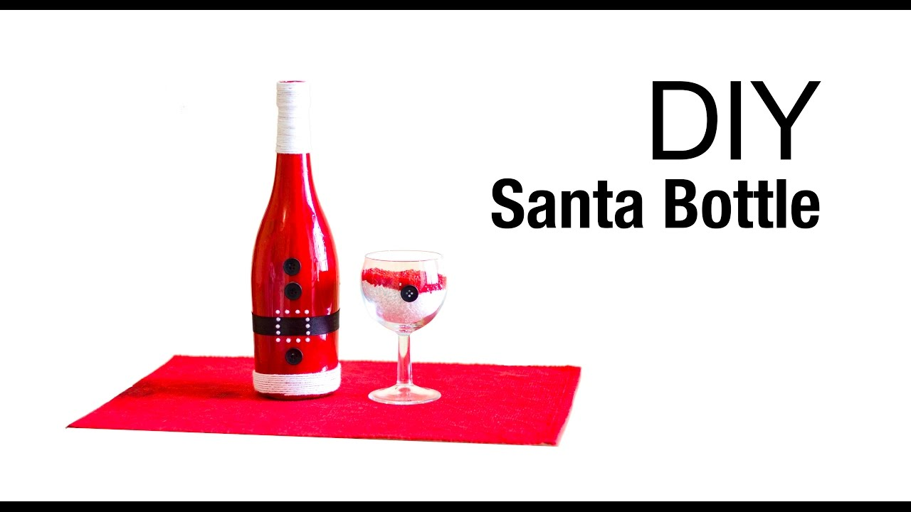 how to make santa wine bottle christmas decoration beads art youtube - Wine Christmas