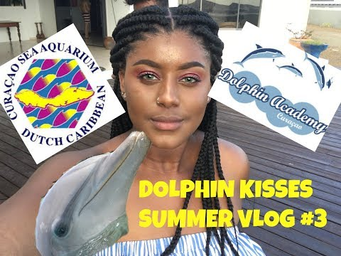 DOLPHIN KISSES!!!! SEA AQUARIUM / DOLPHIN ACADEMY CURAÇAO !!! | SUMMER VLOG #3