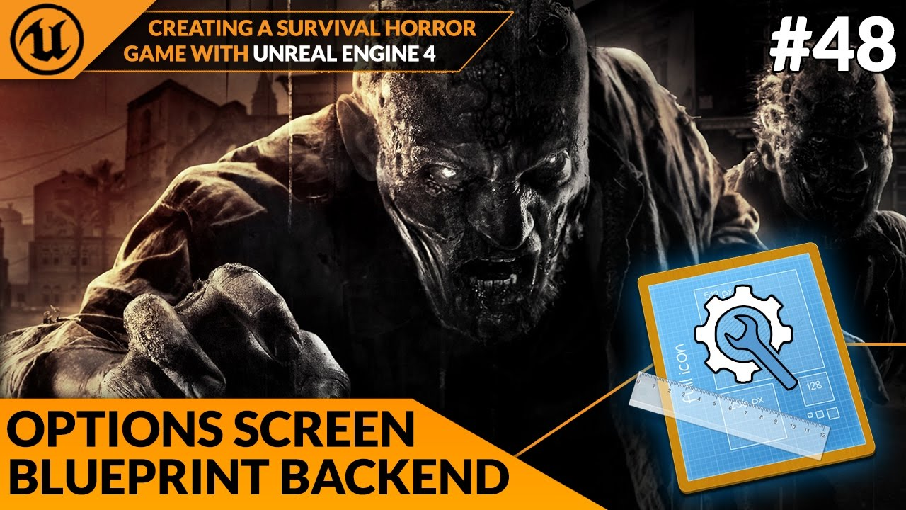 Options screen blueprint script 48 creating a survival horror options screen blueprint script 48 creating a survival horror unreal engine 4 malvernweather Choice Image