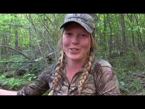 Lady arrows Black Bear with Crossbow in Ontario Canada PERFECT SHOT POV