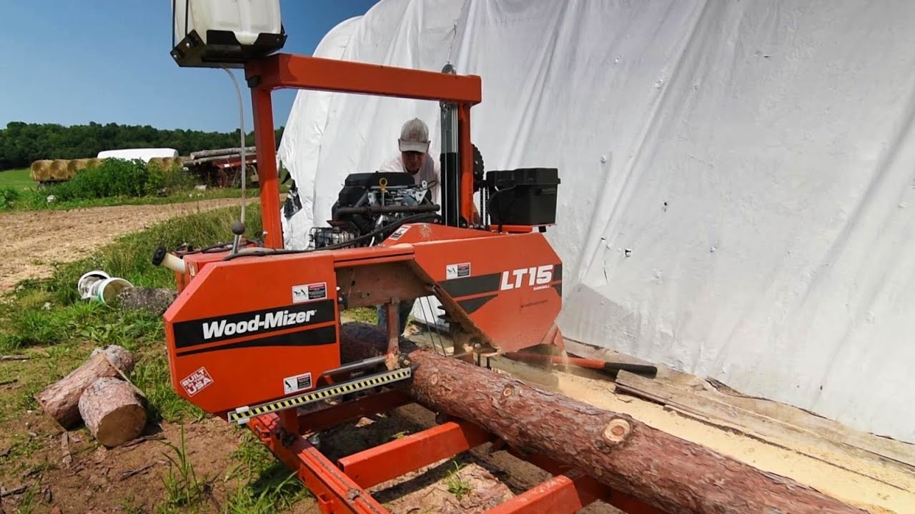Sawing pine logs on our Woodmizer LT15 sawmill!