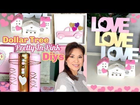 DIY DOLLAR TREE PRETTY IN PINK VALENTINES DECOR WITH A ROMANTIC VIBE