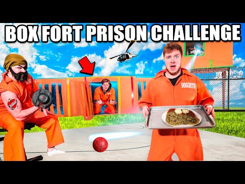 24 HOUR BOX FORT PRISON CHALLENGE! Guards, Prison Food, Escape & More!