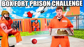 24 HOUR BOX FORT PRISON CHALLENGE! Guards, Prison Food, Escape & More!