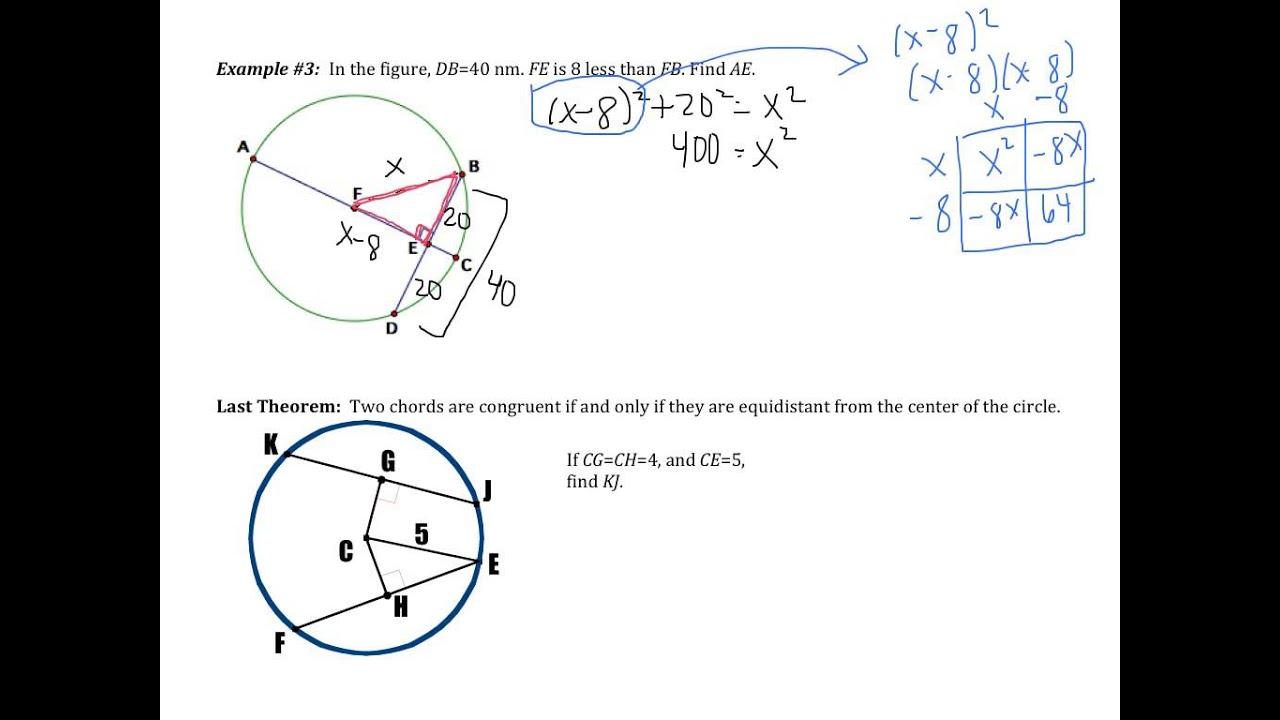 worksheet Properties Of Circles Worksheet 10 3 apply properties of chords youtube chords