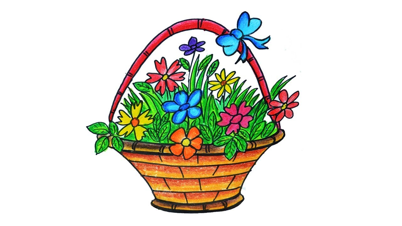How To Draw A Flower Basket With Flowers : Flower basket drawing how to draw step by