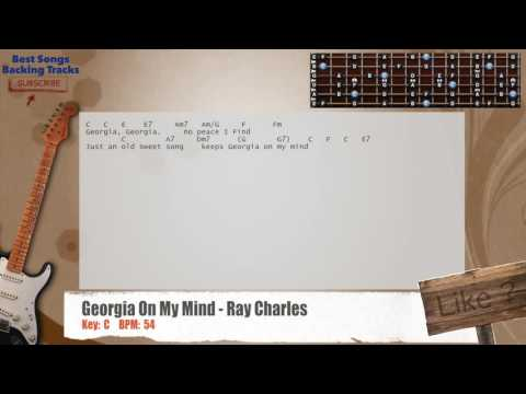 Georgia On My Mind - Ray Charles Guitar Backing Track with chords and lyrics
