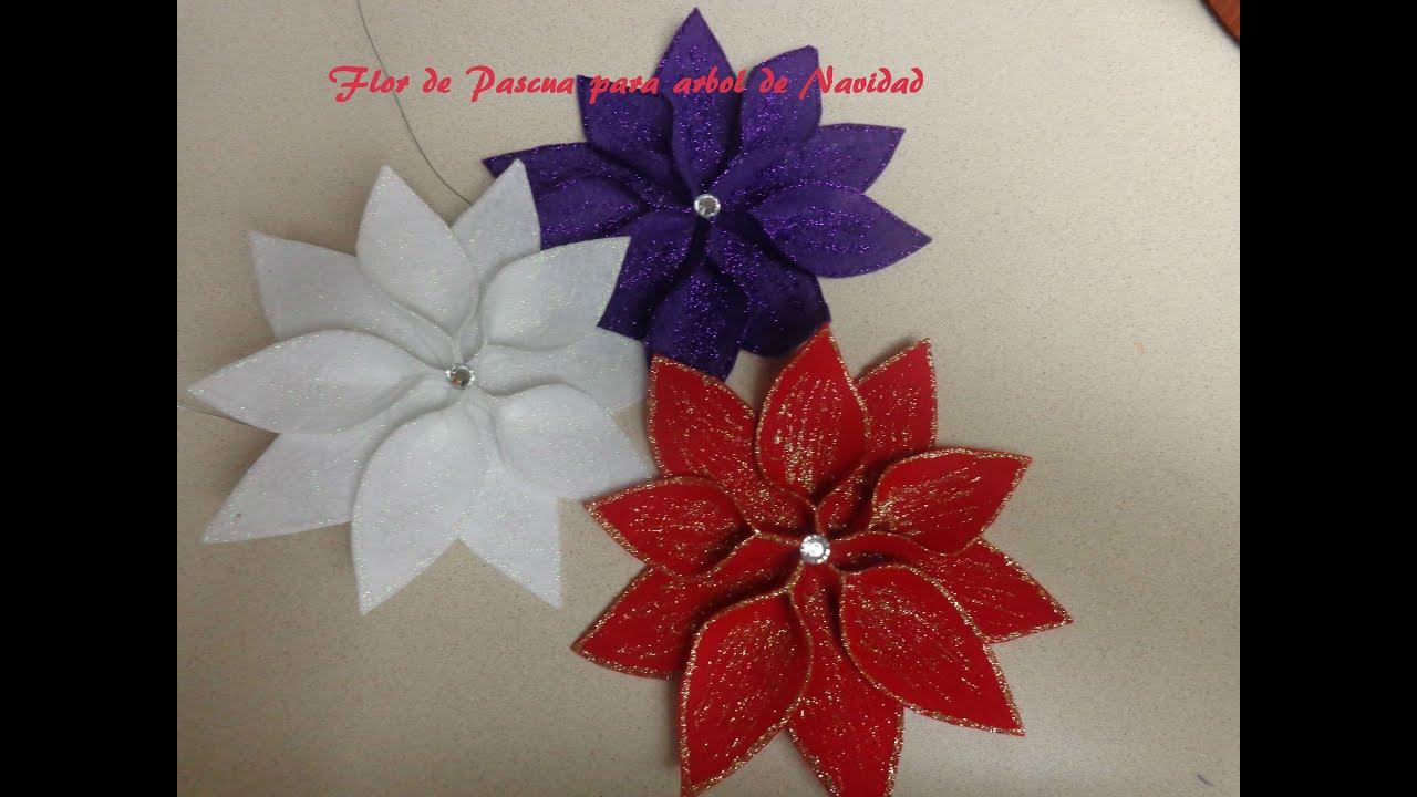 Diy manualidades para navidad flor de pascua para decorar - Adornos para arbol navidad ...