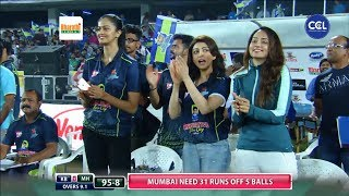 Pranitha And Shanvi Supporting Karnataka Bulldozers | Karnataka Vs Mumbai | CCL T10 Blast |