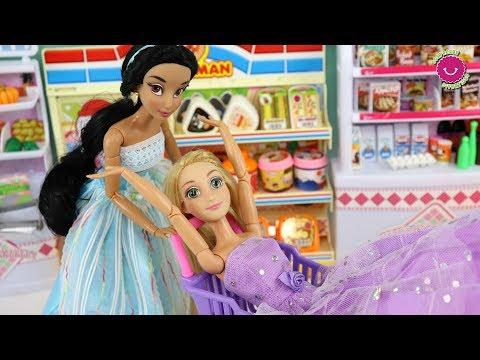 Rapunzel y Jasmín Diversión en el Supermercado 🤩 Mis muñecas Princesas Disney