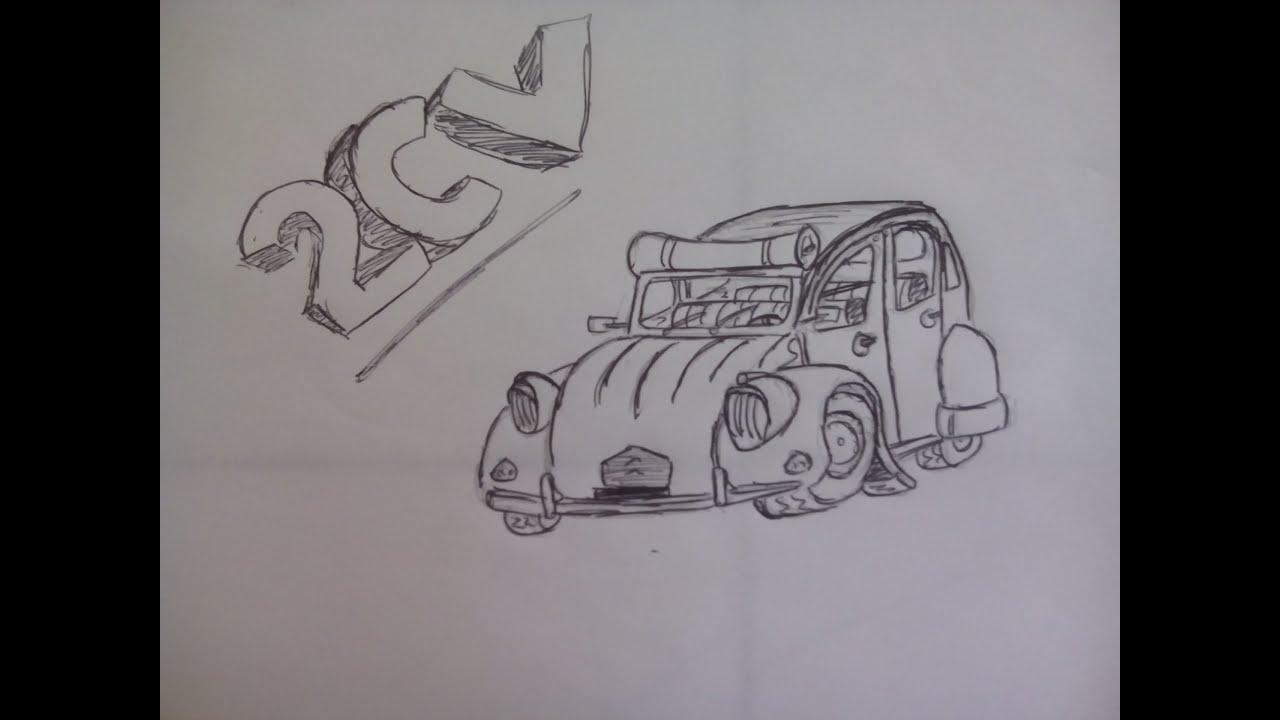 Comment dessiner une caricature de 2cv youtube - Dessin humoristique voiture ...