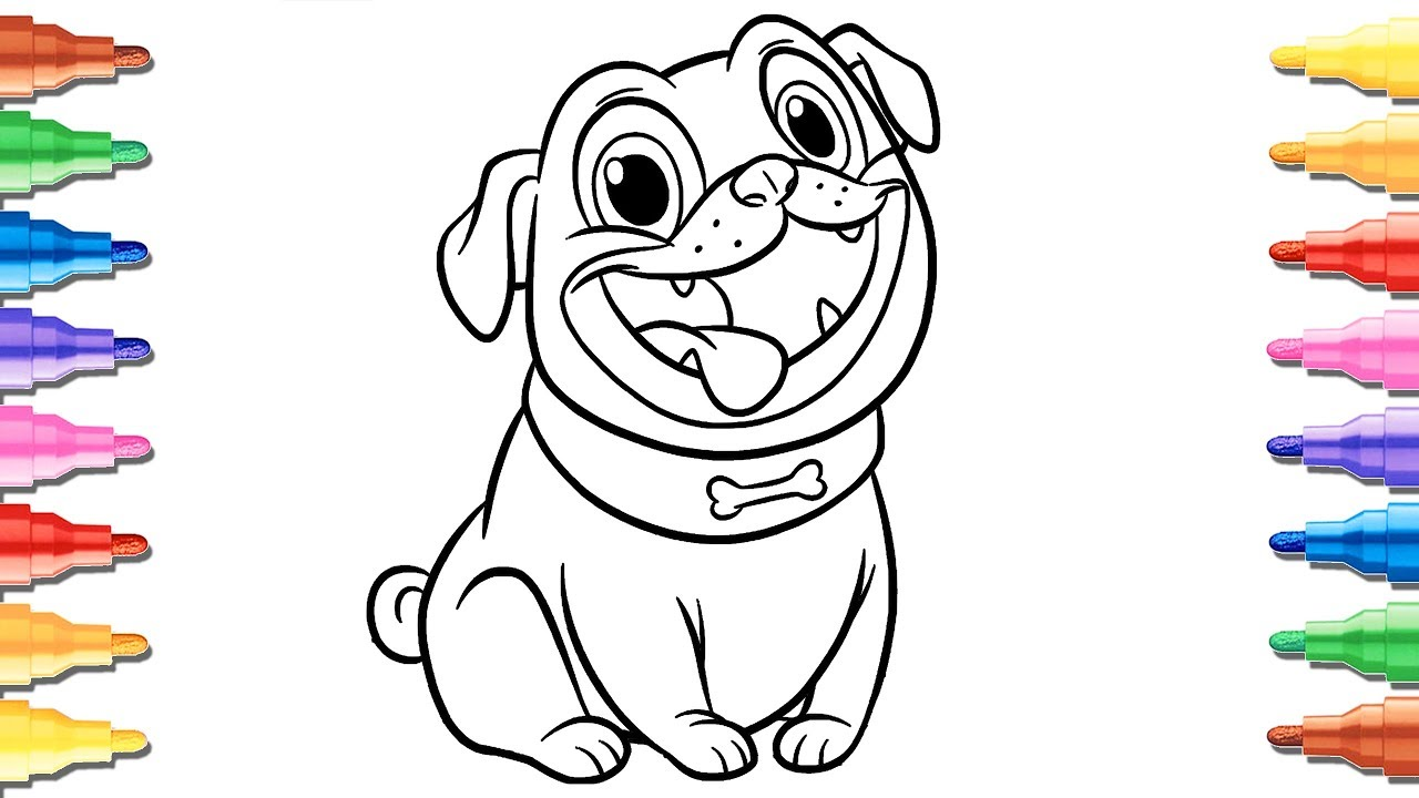puppy dog pals coloring pages for kids  rolly  youtube