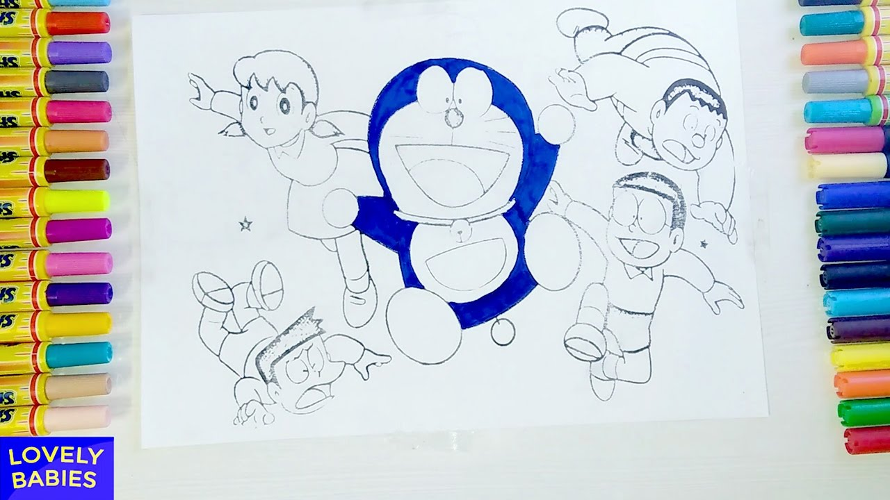 doraemon coloring pages - doraemon and dorami  coloring pages for kids  learn drawing for childrens
