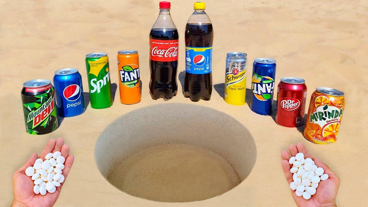 Experiment ! Dr Pepper, Cola, Fanta, Sprite, Mtn Dew, Mirinda, Pepsi and Mentos Underground