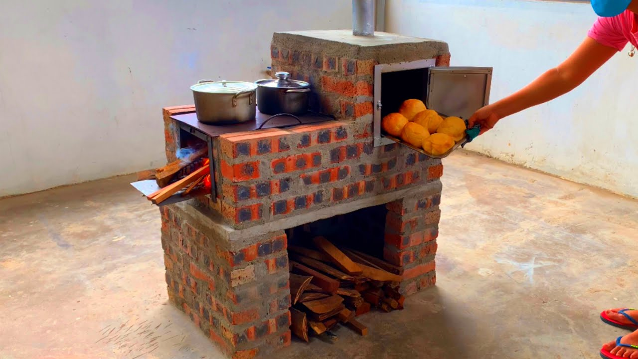 Build a multi-purpose wood stove with a baking tray from cement and bricks