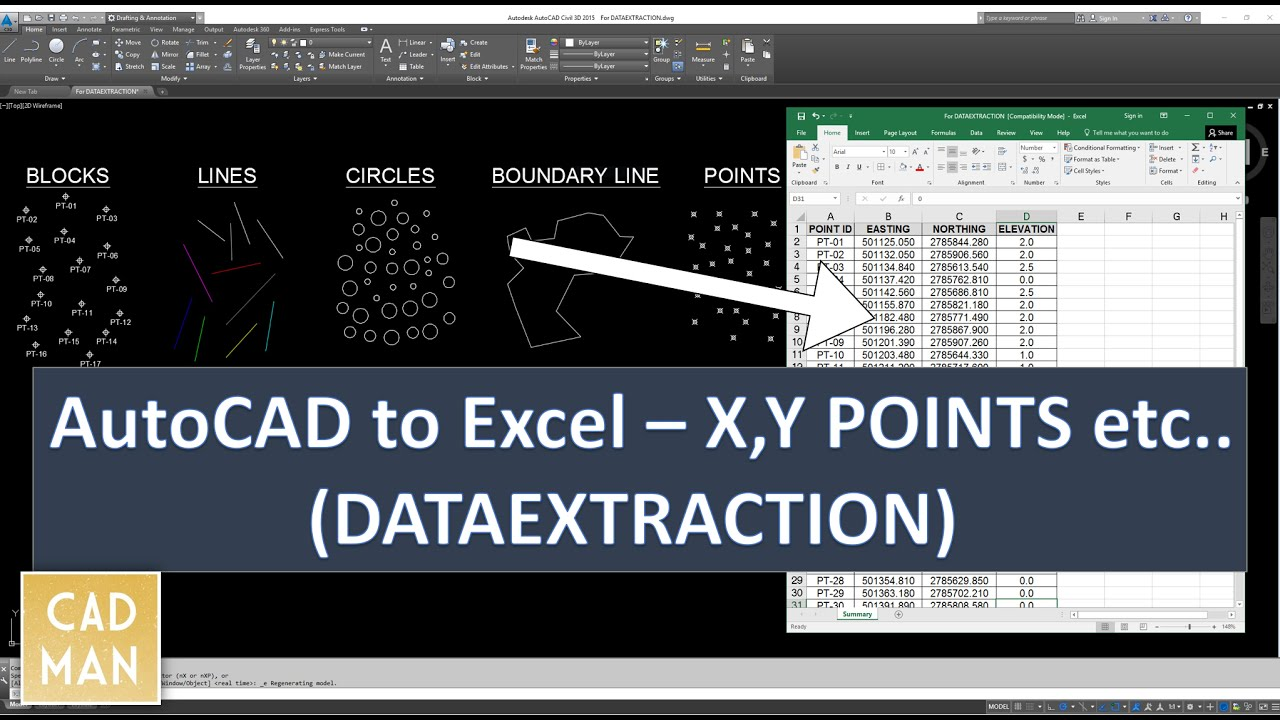 AutoCAD to Excel - DataExtraction