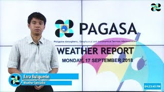 Public Weather Forecast Issued at 4:00 PM September 17, 2018 thumbnail