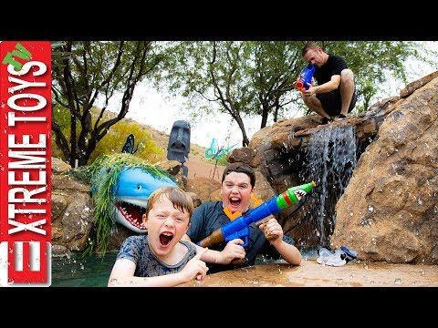 sneak-attack-squad-moving-day-nerf-battle-in-a-lazy-river-vs.-dad!